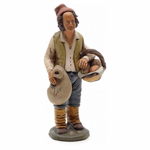 Man with bread, 18cm terracotta, Deruta s1