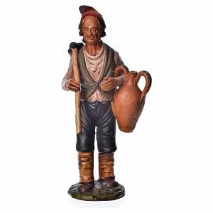 Terracotta Nativity Scene figurines from Deruta: Man with hoe and amphora, 18cm terracotta, Deruta