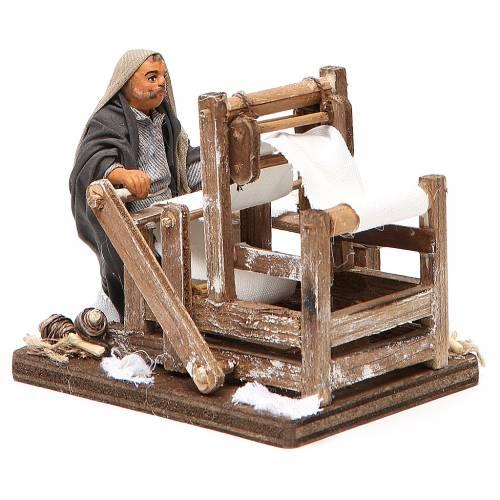 Man with loom, Neapolitan nativity figurine 10cm s4