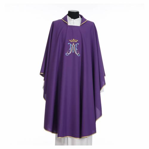 Marian chasuble in polyester with blue and gold embroidery s7