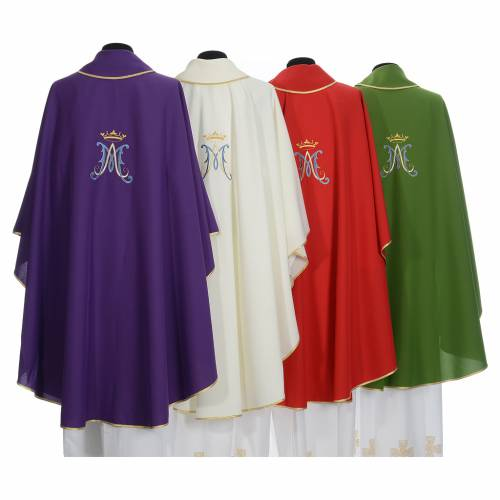 Marian chasuble in polyester with blue and gold embroidery s2