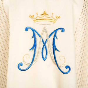 Marian chasuble in wool with metallic motifs s3