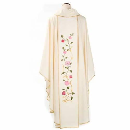 Marian chasuble in wool with roses and cowl s2