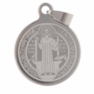 Medaglie: Medaglia San Benedetto acciaio inox 25mm