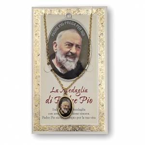 Medaglie: Medaglia Catenina Cartoncino San Pio da Pietrelcina Preghiera ITA