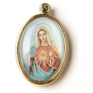 Medaglia Dorata con immagine Resinata Cuore Immacolato di Maria s1