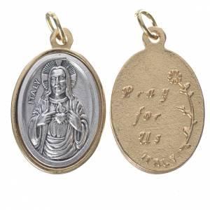 Medaglia S. Cuore Gesù metallo dorata argentata 2,5cm s1