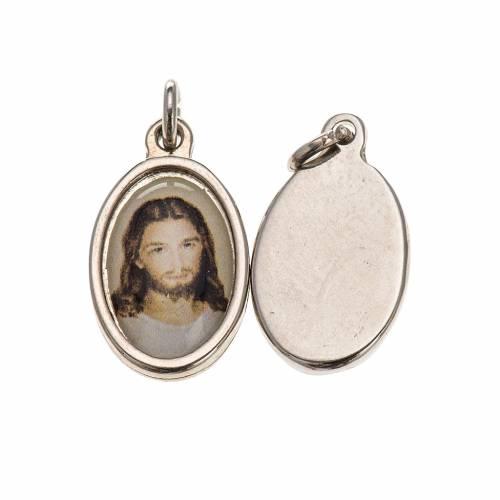 Medaglia volto Cristo metallo argentato resina 1,5x1 cm 1