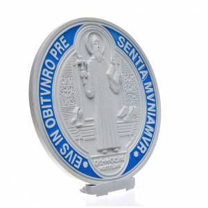 Médaille croix de Saint Benoît à poser 12,5 cm zamac blanc s2