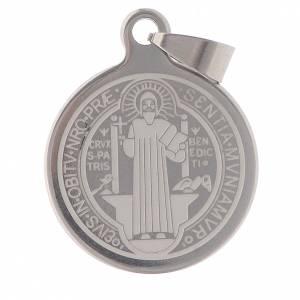 Medaillen: Medaille Heiliger Benedikt Edelstahl 25 mm