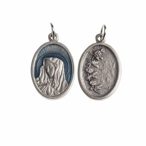 Médaille Mater Dolorosa ovale émail bleu ciel s1