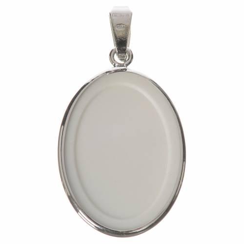 Médaille ovale argent 27mm Saint Pio s2