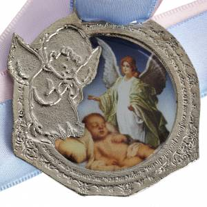 Medals and decorations for cradle: Medal, cradle decoration with double ribbon