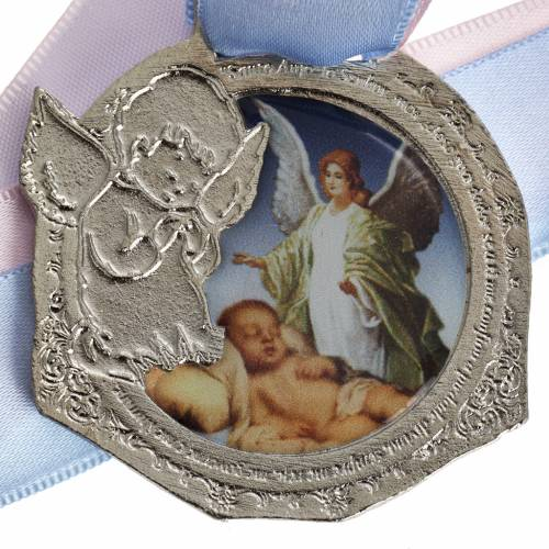 Medal, cradle decoration with double ribbon s2