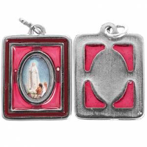Medallas: Medalla de Fátima rectangular esmaltada 25mm