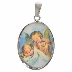 Colgantes, cruces y broches: Medalla ovalada de plata, 27mm ángel guardián