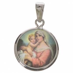 Medalla redonda de plata, 18mm Nuestra Señora con niño s1
