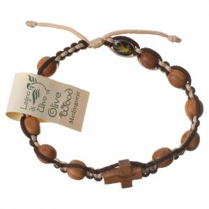 Medjugorje bracelet, olive wood heart grains, brown and beige co s1