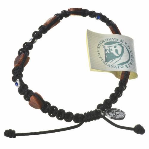 Medjugorje Bracelet, olive wood hearts black cord s1