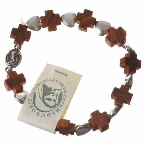 Medjugorje elastic bracelet, olive wood cross grains, metal hear s1