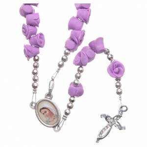 Rosaries and rosary holders: Medjugorje rosary beads with lilac roses with cross in rhinestones