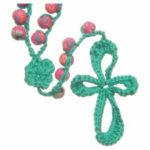 Rosaries and rosary holders: Medjugorje rosary in fimo and green cord