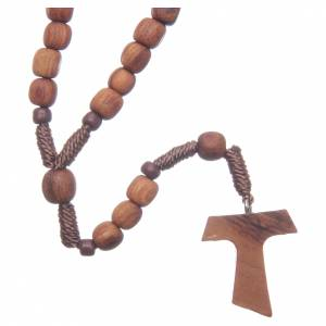Rosaries and rosary holders: Medjugorje rosary in olive wood with cord and Tau