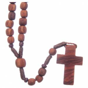 Rosaries and rosary holders: Medjugorje rosary in olive wood with cord