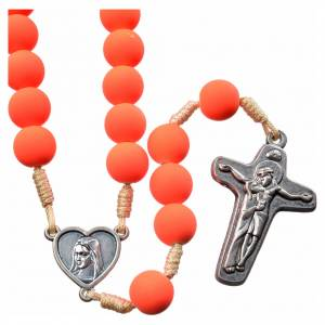 Rosaries and rosary holders: Medjugorje rosary in orange fimo with Medjugorje soil