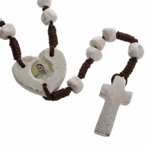 Rosaries and rosary holders: Medjugorje rosary, stone, brown cord, heart medal