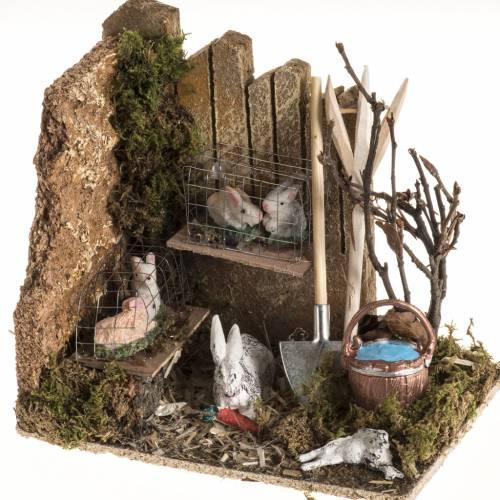 Milieu crèche de Noel avec lapins s1