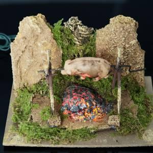 Milieu crèche Noel, feu et cochon rôti led s3