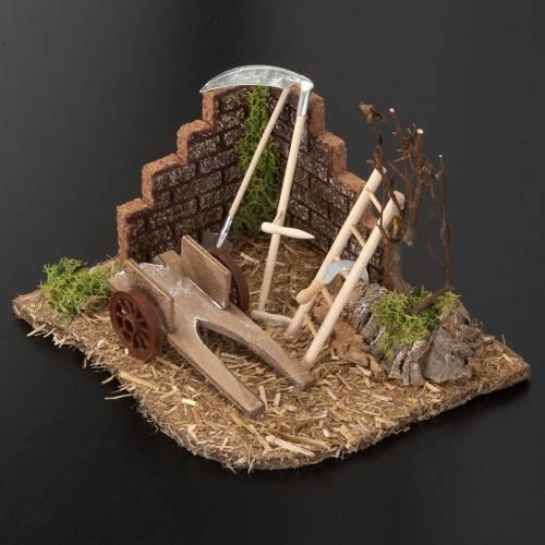 Milieu crèche Noel, outils du paysan s3