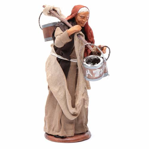 Milk seller with wooden buckets for Neapolitan Nativity, 14cm s3