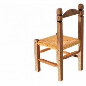 Mini chaise paillée en bois 7,5x4x4cm s2