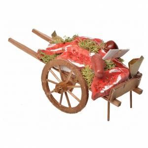 Mini charrette en bois et viande en terre cuite s3