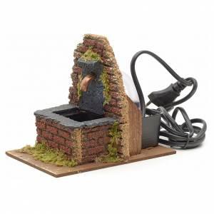 Mini fontaine avec mur en briques pour crèche 13x10x15cm s2