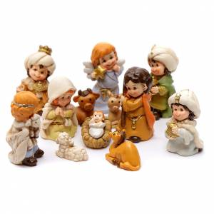 Resin and Fabric nativity scene sets: Mini nativity scene 13 pieces in resin 4 cm