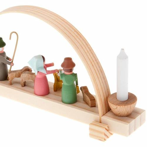 Mini nativity scene in wood, hand made with arch s2