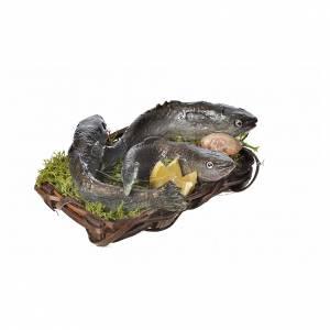 Mini panier poissons et coquille cire crèche 10x7x8cm s2