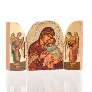 Icons printed on wood and stone: Mini Triptic