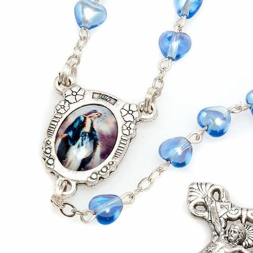Miraculous Medal blue glass rosary s4