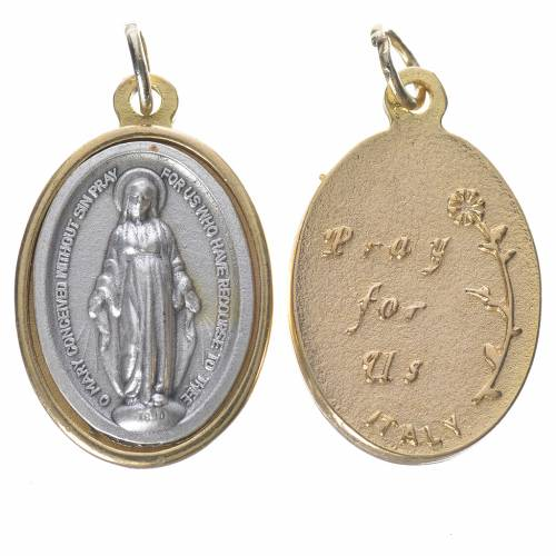 Miraculous Medal, silver and golden metal 2.5cm 1