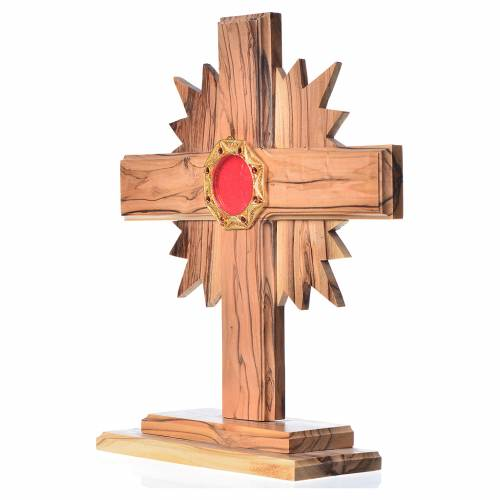 Monstrance H20cm in olive wood with rays, display 800 silver sto s2