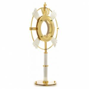 Monstrance in bi-coloured bronze with rays and IHS symbol s4