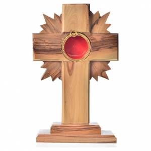 Monstrances, reliquaries in olive wood: Monstrance in olive wood with rays, 15cm round 800 silver displa