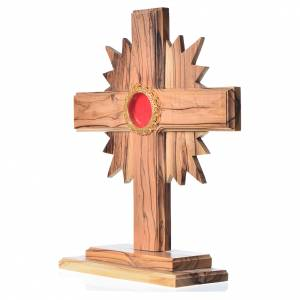 Monstrances, reliquaries in olive wood: Monstrance in olive wood with rays, 20cm round golden 800 silver