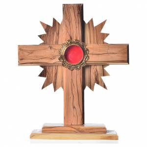 Monstrances, reliquaries in olive wood: Monstrance in olive wood with rays H20cm, display in golden meta