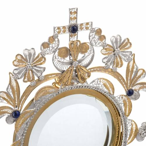 Monstrance in silver 800 filigree, removable pyx and lapis s6