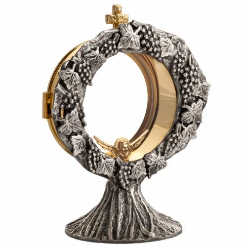 Monstrance shrine in brass with silver plating 2